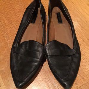 TOP SHOP black soft leather loafer flats size 39